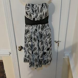 WHBM strapless black & white formal dress 12